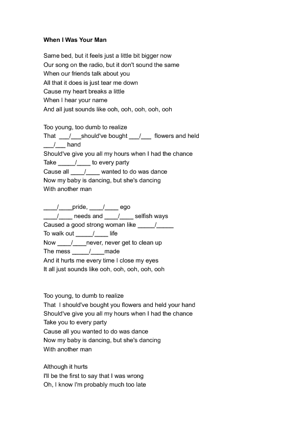 Lyric man song lyrics : Worksheet: When I Was Your Man