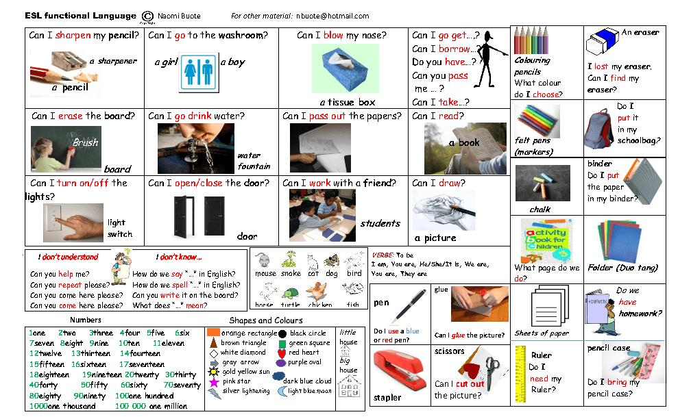 Classroom Design For Esl Students : Classroom functional language desktop placemat