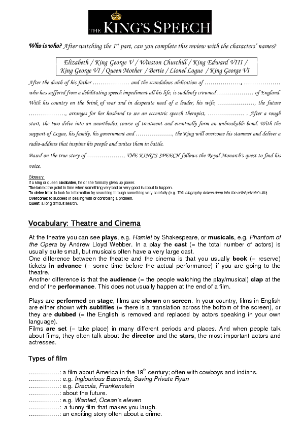 worksheet The Kings Speech – Frankenstein Worksheets