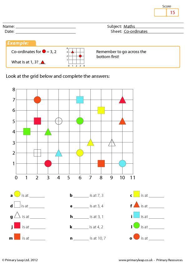 Co-ordinates - Maths Worksheet