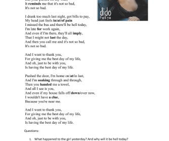 Song Worksheet:Thank You by Dido