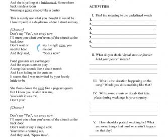 Song Worksheet: Speak Now by Taylor Swift