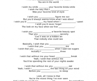 Song Worksheet: Nicest Thing by Kate Nash ( Conditional 2 and Wishes)
