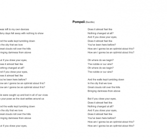Song Worksheet: Pompeii by Bastille (2013)