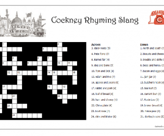London's Cockney Rhyming Slang Crossword
