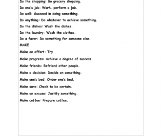 "Using Collocations with ""Do"" and ""Make"""
