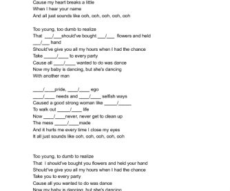 Song Worksheet: When I Was Your Man