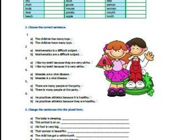 Plural of Nouns Elementary Worksheet