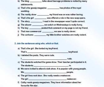 Defining / Non-Defining Relative Clauses Worksheet