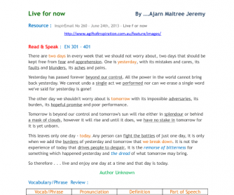 Read & Speak: Live for Now by Ajarn Maitree Jeremy