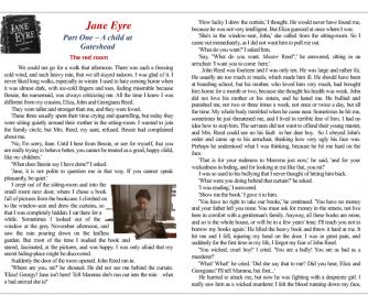 Reading Worksheet: Jane Eyre, Chapter 1