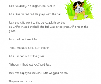 Alfie the Dog - Reading Comprehension