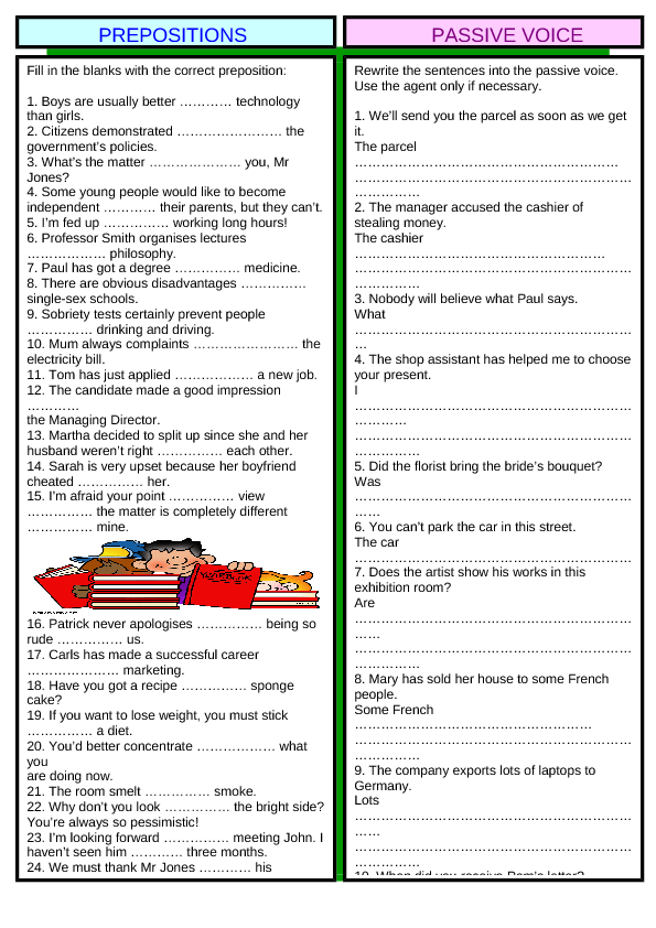 Review 2: Prepositions & Passive Voice (+ Key)
