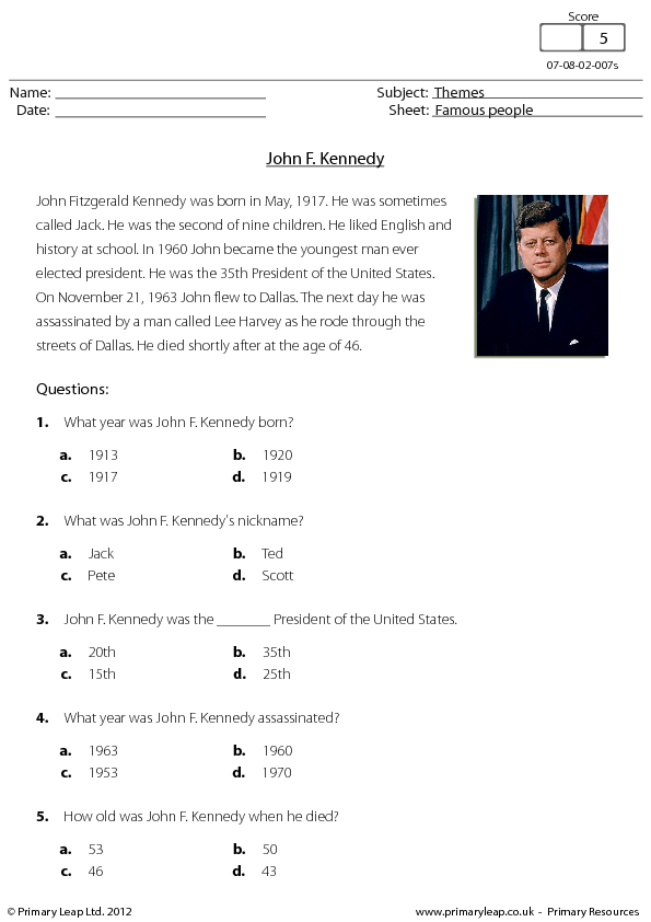 John F Kennedy Reading Comprehension
