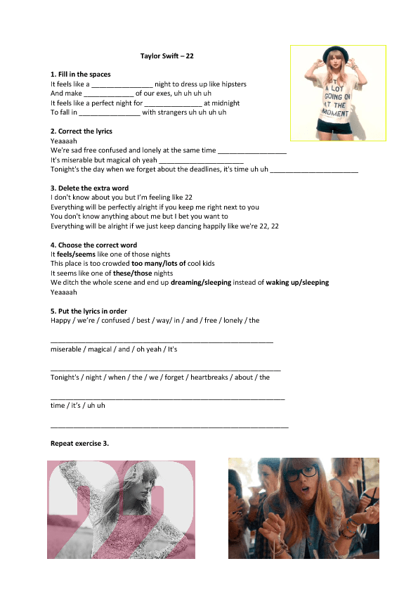 song worksheet 22 by taylor swift