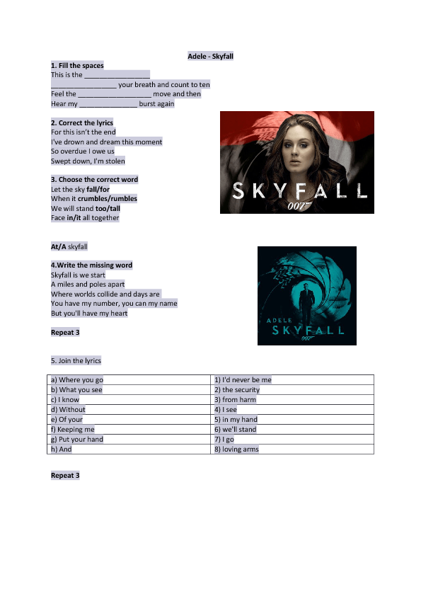 Song Worksheet: Skyfall by Adele