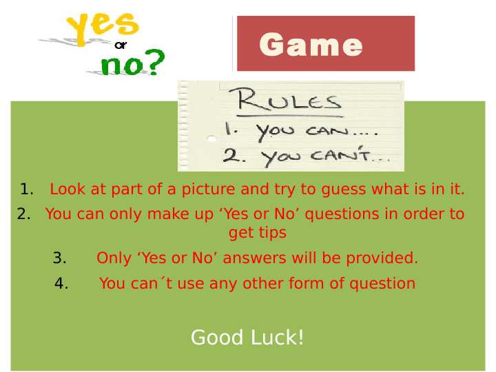 Yes No Answers What S This Game