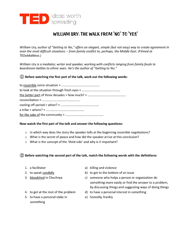 Worksheet: TED: a Walk from No to Yes