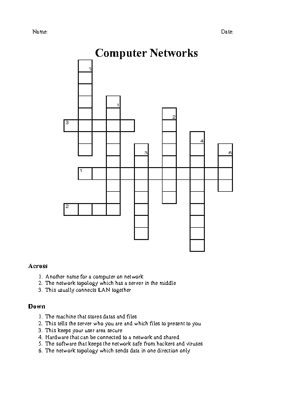 Modular Classroom Crossword ~ Computer networks crossword