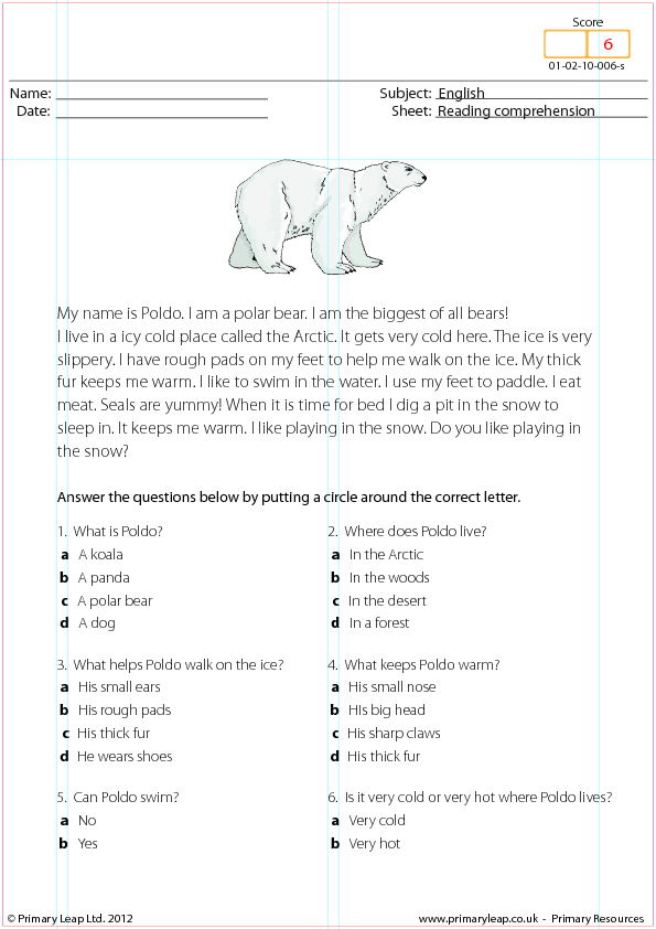 Poldo the Polar Bear - Reading Comprehension