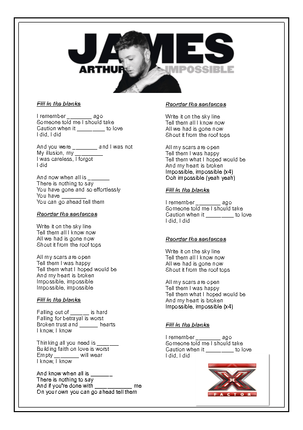 Song Worksheet Impossible By James Arthur