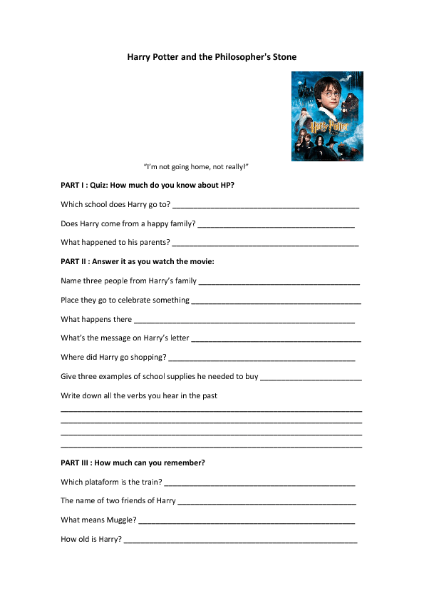 Movie Worksheet: Harry Potter and the Philosopher's Stone