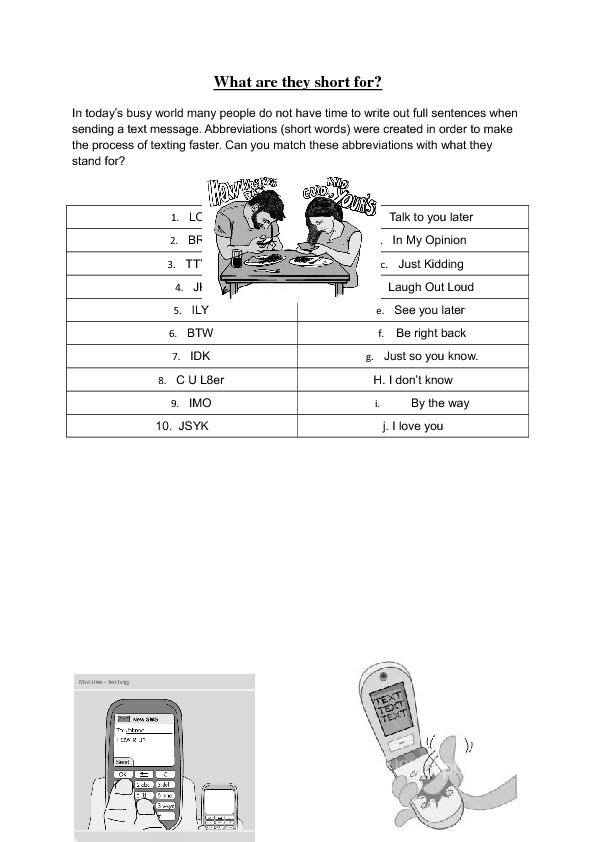 Worksheet Matching Cell Phone Texting : Texting and im language mix match