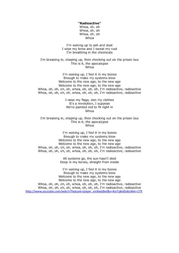 Key to Imagine Dragons Radioactive Song Worksheet