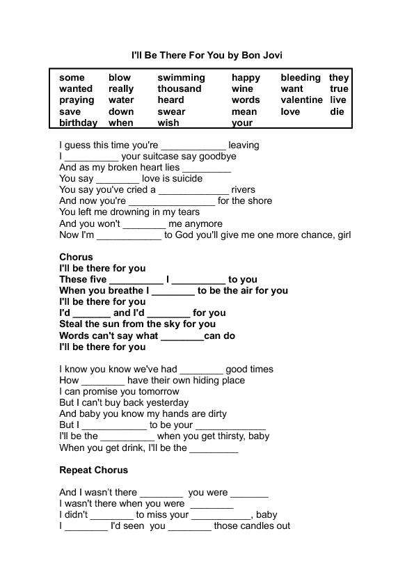 song worksheet ill be there for you by bon jovi