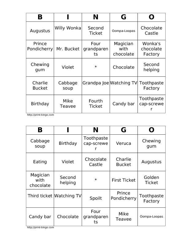 and the Chocolate Factory Book Bingo – Joe and Charlie Worksheets