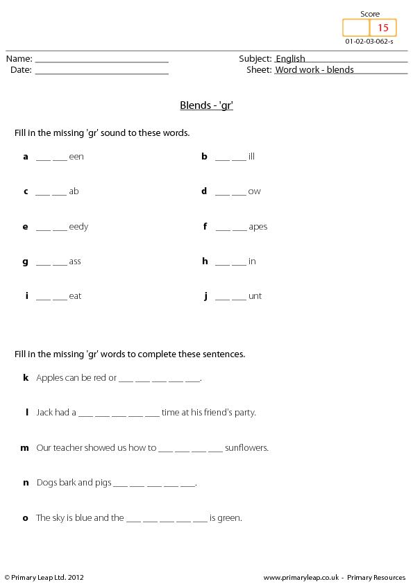 English Worksheets ks1 english worksheets : Work: Blends - 'Gr'
