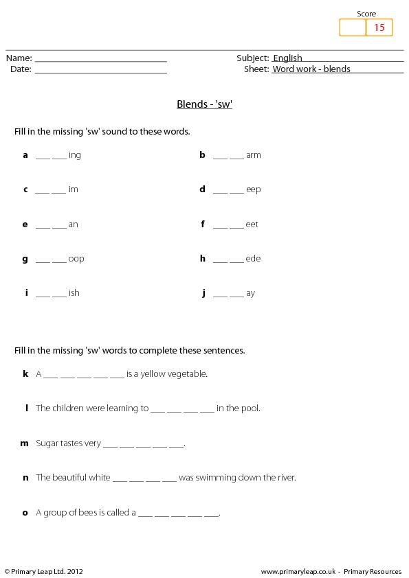 Printable Worksheets st blend worksheets : Work: Blends - 'Sw'