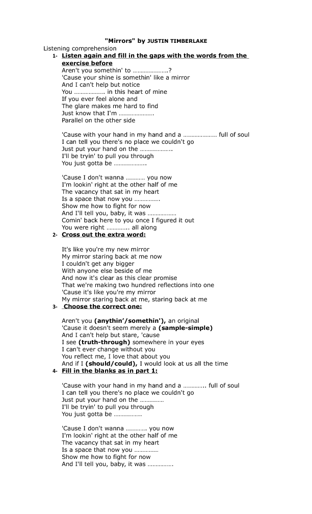 Song Worksheet Mirrors By Justin Timberlake