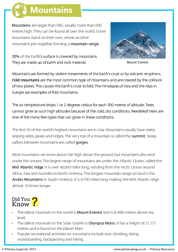 Mountains Reading Comprehension