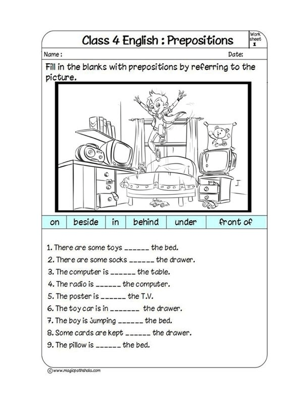 Prepositions - Fill in the Blanks