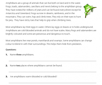 Reading comprehension - Amphibians