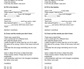 Song Worksheet: Don't Worry, Child