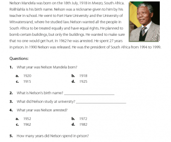 Nelson Mandela - Reading Comprehension