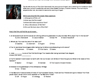 Movie Worksheet: Thor