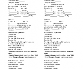 Song Worksheet: Losing My Religion by REM