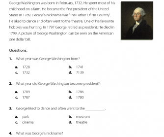 George Washington - Reading Comprehension