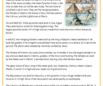 The Seven Wonders of the Ancient World - Reading Comprehension