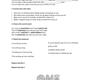 Song Worksheet: One More Night by Maroon 5