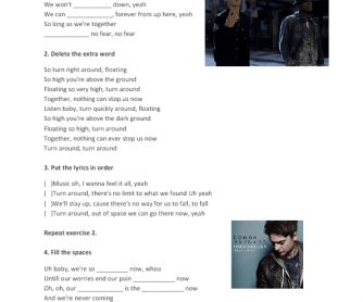 Song Worksheet: Turn Around by Conor Maynard ft Ne-Yo