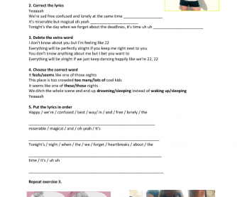 Song Worksheet: 22 by Taylor Swift