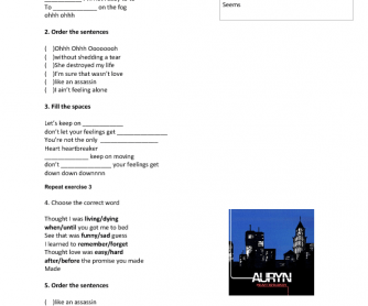 Song Worksheet: Heartbreaker by Auryn (for Spanish Speakers)