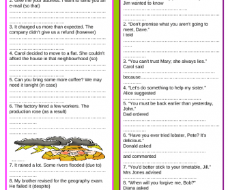 Review 3: Linking Words & Reported Speech