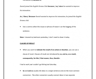 Clauses of Reason and Result Pre-Intermediate Worksheet