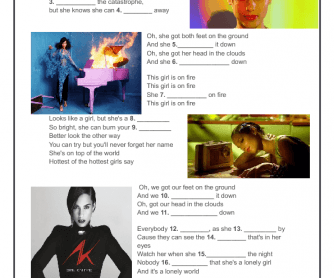 Song Worksheet: Girl on Fire by Alicia Keys