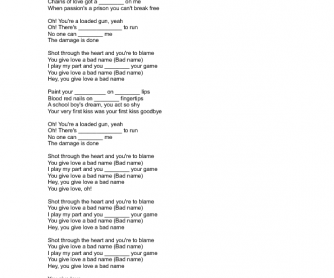 Song Worksheet: You Give Love a Bad Name by Bon Jovi)